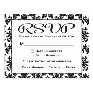 Black And White RSVP Damask Wedding / Party Postcard