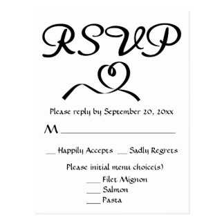 Black And White RSVP Heart Wedding / Party Postcard