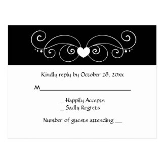 Black And White RSVP Heart Wedding Party Response Postcard