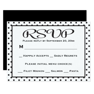 Black And White RSVP Polka Dot Wedding / Party 9 Cm X 13 Cm Invitation Card