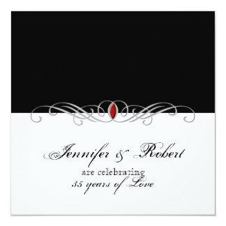 Black and White Ruby Accent Wedding Anniversary 13 Cm X 13 Cm Square Invitation Card