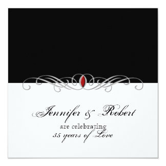 Black and White Ruby Accent Wedding Anniversary Card