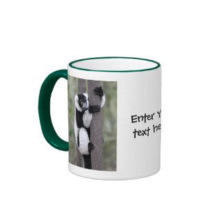 Black and White Ruffed Lemur on Tree Ringer Mug