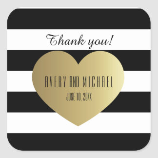 Black and White Rugby Stripes - Gold Foil Effect Square Sticker