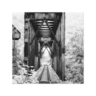 Black and white rural train trellis on canvas