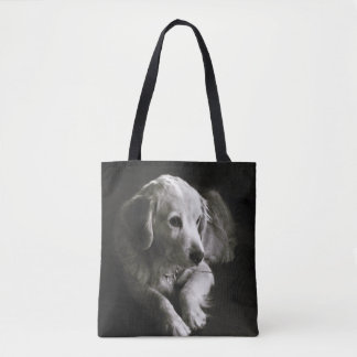 Black and White Sad Dog | Tote Bag