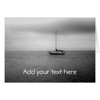 Black and White Sailboat Photo Greeting Card