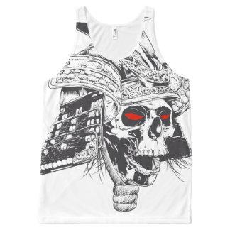 black and white samurai helmet with skull All-Over print tank top