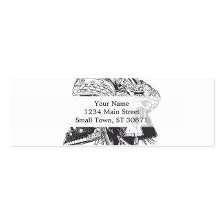 black and white samurai helmet with skull pack of skinny business cards