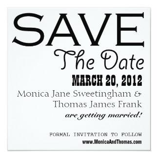 Black and White Save the Date 13 Cm X 13 Cm Square Invitation Card