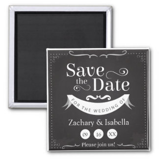 "Black and White Save the Date 2"" Magnet"