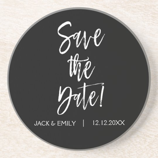 Black and White Save the Date Coaster