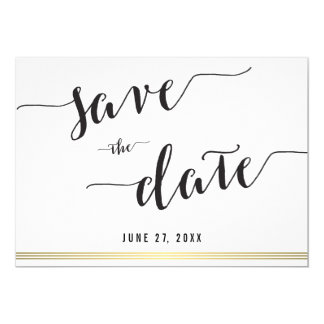 Black And White Save The Date Gold Invitation Card