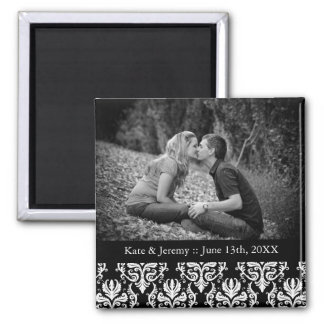 Black and White Save the Date Photo Wedding Magnet