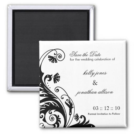 Black and White Save the Date Wedding Magnet