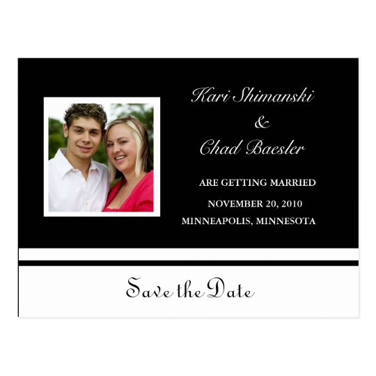 Black and white Save the date with pic Postcard