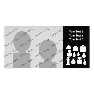 Black and White Scent Bottles Design. Personalised Photo Card