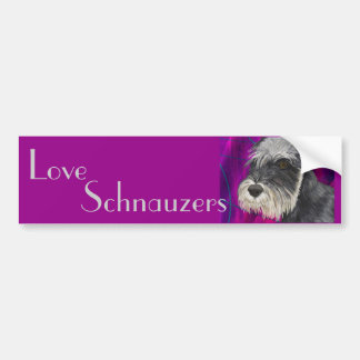 Black and White Schnauzer with Purple Background Bumper Sticker