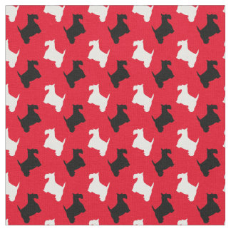 Black and White Scotties Personalize Fabric