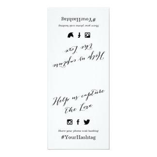 Black and White Script Wedding Hashtag Sign 10 Cm X 24 Cm Invitation Card