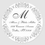 Black and white scroll address stickers