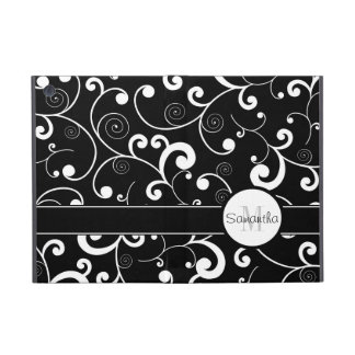Black and White Scroll Design Custom Monogram iPad Mini Case