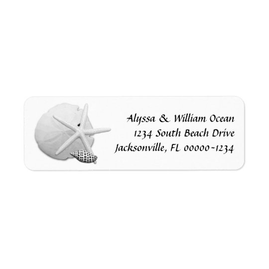 Black and White Sea Shells Return Address Labels