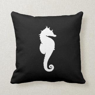 Black and White Seahorse Cushion