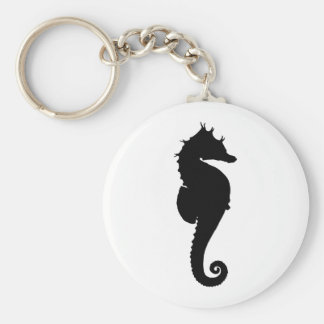 Black and White Seahorse Key Ring