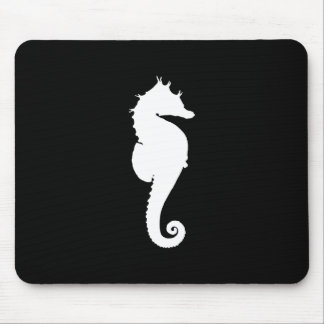 Black and White Seahorse Mouse Mat
