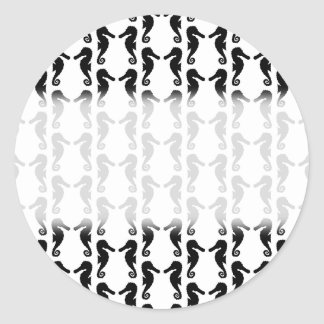 Black and White Seahorse Pattern. Classic Round Sticker