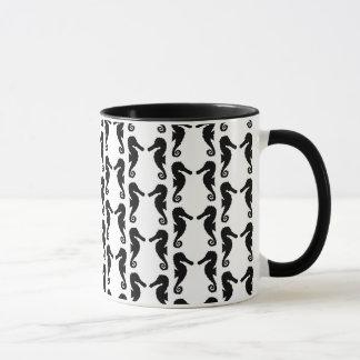 Black and White Seahorse Pattern. Mug
