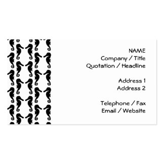 Black and White Seahorse Pattern. Pack Of Standard Business Cards
