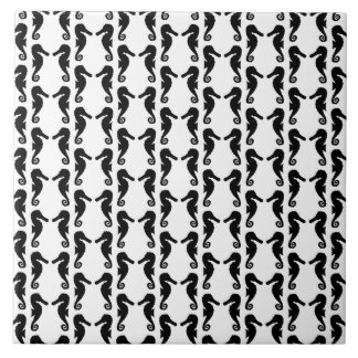 Black and White Seahorse Pattern. Tile