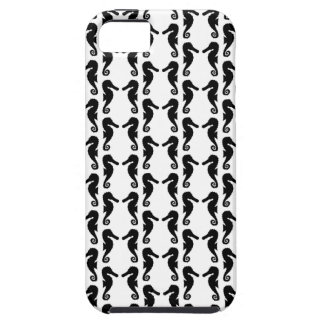 Black and White Seahorse Pattern. Tough iPhone 5 Case
