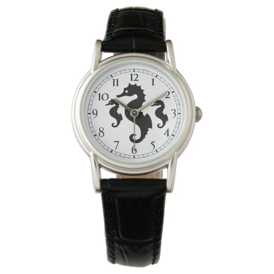 Black And White Seahorse Silhouettes Watch