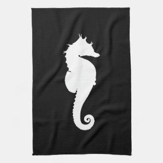 Black and White Seahorse Tea Towel
