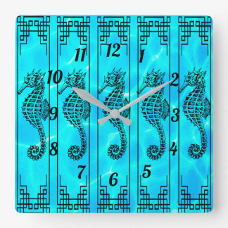 Black and White Seahorse - Water Effect Square Wall Clock