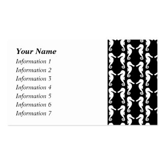 Black and White Seahorses Pattern Business Card