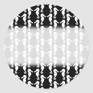 Black and White Seahorses Pattern. Classic Round Sticker
