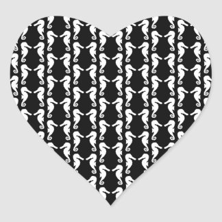 Black and White Seahorses Pattern. Heart Sticker