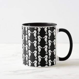 Black and White Seahorses Pattern. Mug