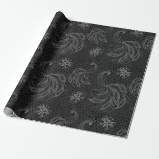 Black and white seamless pattern with peacocks wrapping paper