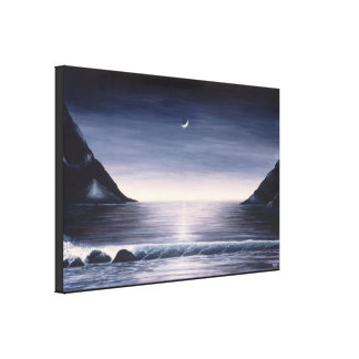 Black and white seascape painting on canvas canvas print