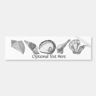 Black and White Seashell Art Bumper Stickers