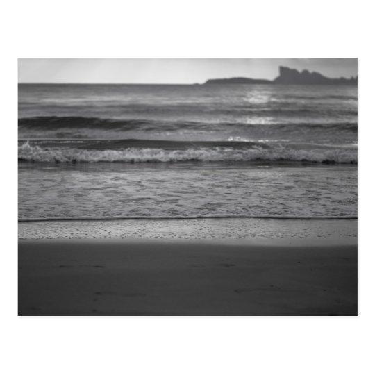 Black and white seaside landscape postcard