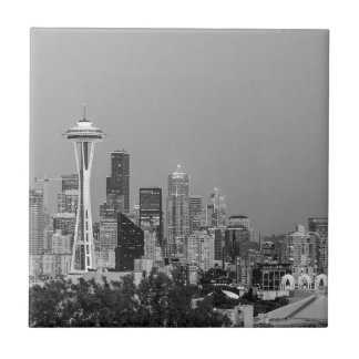 Black and White Seattle cityscape Tile