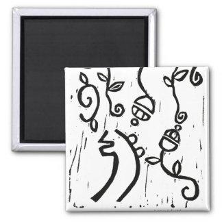 Black and White Sei Hei Ki Art Nouveau Square Magnet