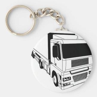 Black and white semi truck keychains