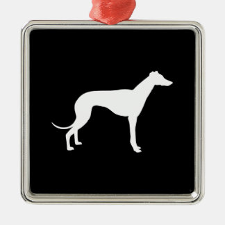Black and White Shape of Greyhound Christmas Ornament